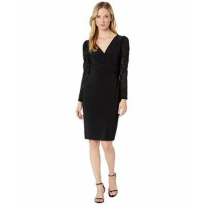 ラルフローレン レディース ワンピース トップス Jersey Lace-Sleeve Dress Black