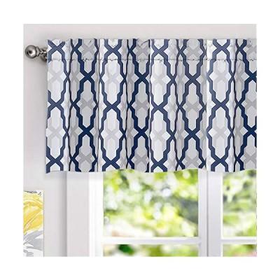 DriftAway Mason Geometric Trellis Pattern Window Curtain Valance Rod Pocket 52 Inch by 18 Inch Plus 2 Inch Header Navy[平行輸入品]