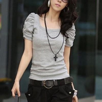 パフスリーブ 半袖 tシャツ パフスリーブtシャツ カットソー 袖 ボリューム トップス 無地 綿 小柄 小さいサイズ 小さい 服