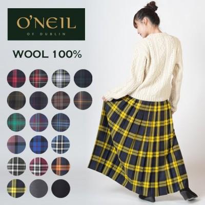 O'NEIL OF DUBLIN ウーステッドウール 100% マキシ丈 キルトスカート 90cm オニール オブ ダブリン キルト ラップスカート タータン チェック