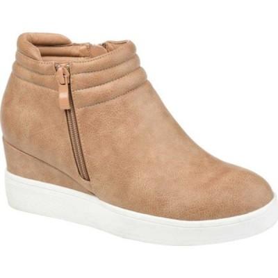 ジャーニーコレクション スニーカー シューズ レディース Remmy Wedge Sneaker (Women's) Tan Faux Leather