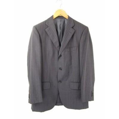 【中古】GAINER テーラードジャケット 長袖 ウール 紺 YA6 ストライプ メンズ