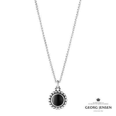 Georg Jensen 喬治傑生 MOONLIGHT BLOSSOM 黑瑪瑙硫化純銀項鍊