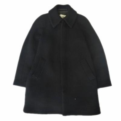 【中古】ズッカ zucca ステンカラー コート ジャケット ブルゾン ロング ウール ナイロン 比翼 M 黒 ブラック レディース◇1