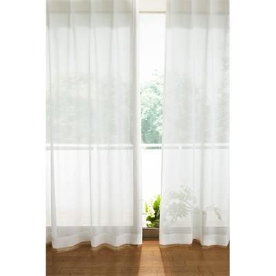 透け感のあるナチュラル無地ボイルカーテン/オフホワイト/幅100×丈78(2枚組)