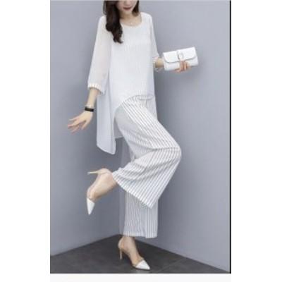 お洒落 パンツドレス ガウチョパンツ ワイドパンツ シフォンブラウス 七分袖 フォーマル 大きいサイズ セットアップ 上下セット オフィス