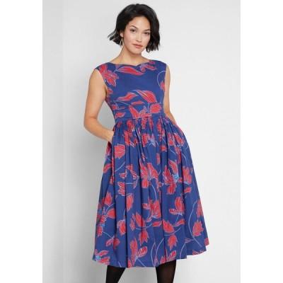シャオシン Shaoxing Lidong Trading Co レディース パーティードレス ワンピース・ドレス Fabulous Fit and Flare Dress Blue Floral