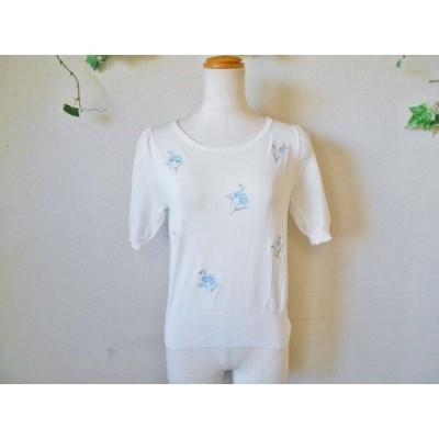 レッセパッセ LAISSE PASSE 刺繍 の 可愛い 半袖 セーター 38