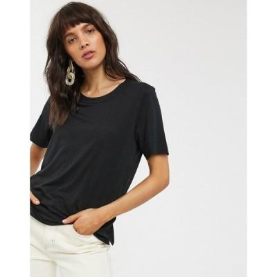 ホイッスルズ レディース Tシャツ トップス Whistles Rosa double trim t-shirt Black