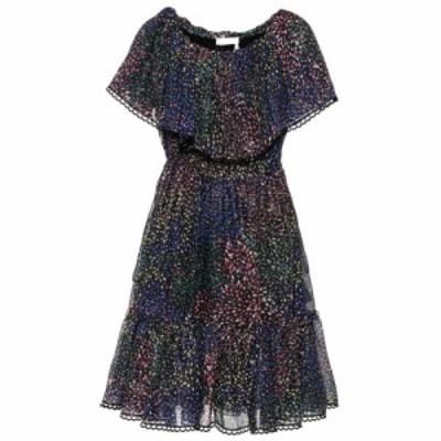 クロエ Chloe レディース ワンピース ワンピース・ドレス Printed cotton and silk-blend crepon dress Iconic Navy