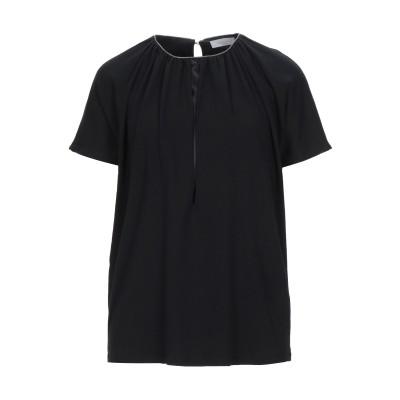 ファビアナフィリッピ FABIANA FILIPPI T シャツ ブラック 38 コットン 94% / ポリウレタン 6% / シルク / エコブラ