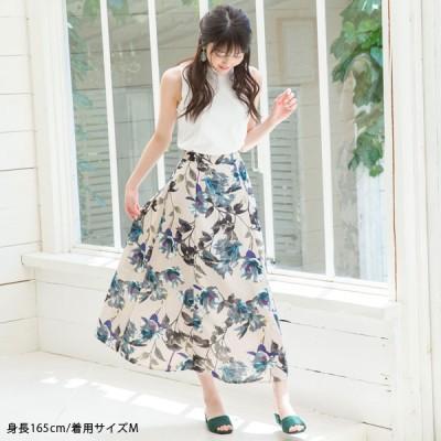 リネンライク花柄フレアマキシスカート