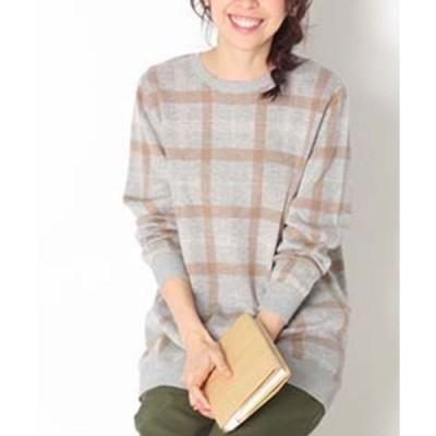 tシャツ Tシャツ 【大きいサイズ】ジャガードチェック柄 ニット チュニック