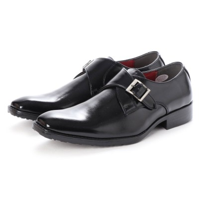 ジーノ Zeeno ビジネスシューズ メンズ プレーントゥ ロングノーズ 脚長 紳士靴 モンクストラップ 革靴 (ブラック)
