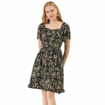 Allegra K シフォン ワンピース ドレス 半袖 パフスリーブ フリル Uネック Aライン フレア レディース ブラック XS