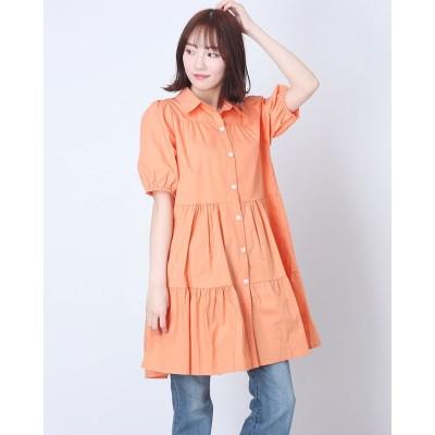 シュベック SVEC ティアードシャツワンピース (オレンジ)