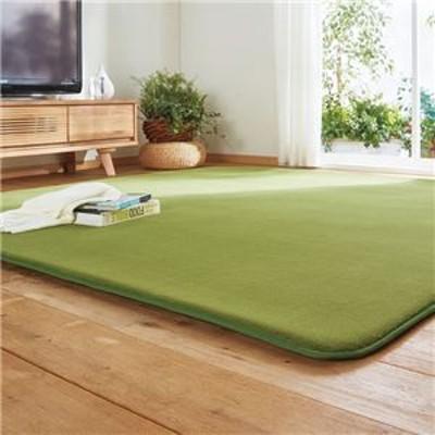 吸湿発熱 ラグマット/絨毯 【1.5畳 130cm×180cm】 長方形 厚み20mm グリーン 洗える ホットカーペット 床暖房対応 〔リビング〕