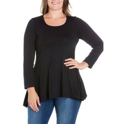 24セブンコンフォート カットソー トップス レディース Women's Plus Size Poised Swing Tunic Top Black