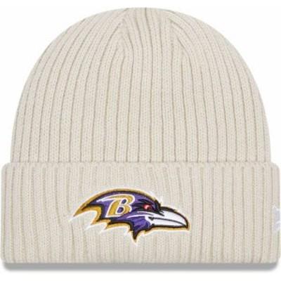 ニューエラ メンズ 帽子 アクセサリー New Era Men's Baltimore Ravens Core Cuffed Knit White Beanie -