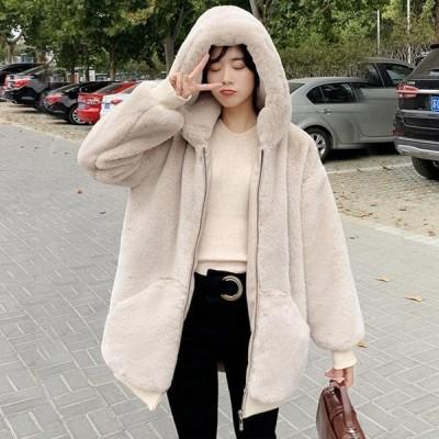 ファーコート ロング レディース 無地 秋冬 フェイクファー フート付き コート お洒落 アウター 暖かい 毛皮 防寒  レディースファッション もこもこ