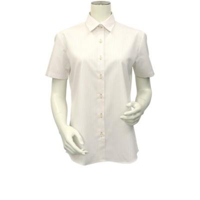 レディース ウィメンズシャツ 半袖 形態安定 レギュラー衿 オーガニックコットン100% 白×ベージュストライプ