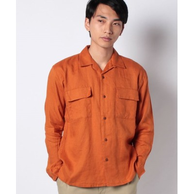 【コエ】 フレンチリネン オープンカラー DROP メンズ オレンジ L koe