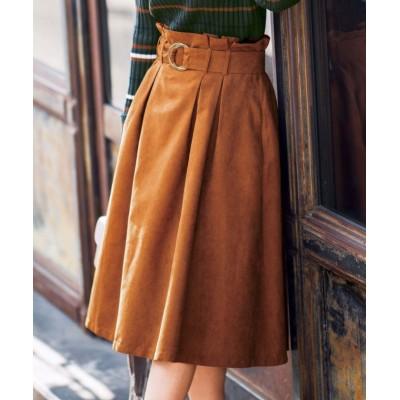 【ジーラ】 ピーチ起毛素材サッシュベルト付スカート  レディース キャメル L GeeRa