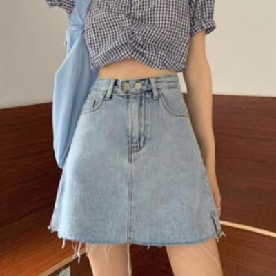 【2020春夏】【S-L】広がり過ぎない絶妙なAラインシルエットが、程よく上品な雰囲気を演出してくるデニムミニスカート♪ ミニスカート