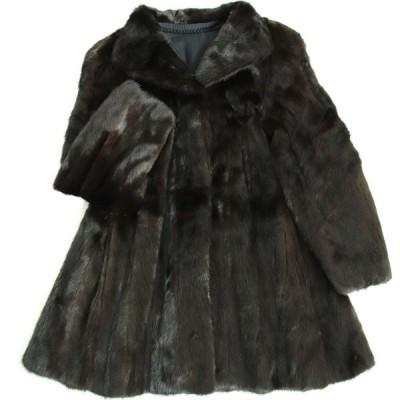 極美品▼4 MINK ミンク 裏地花柄刺繍入り 本毛皮コート ダークブラウン 毛質艶やか・柔らか◎