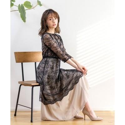 ドレス 【2021SS新作】レースガウン付きキャミワンピース/ドレス