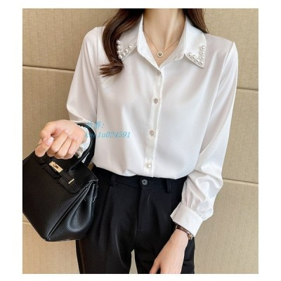 シャツ ブラウス レディース トップス 長袖 襟付き 白ブラウス 白シャツ 大きいサイズ