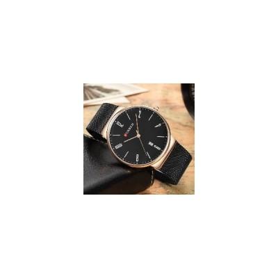 (ブラックケースブラック)カレン8257超薄型カジュアルデザインクォーツウォッチ日付表示ステンレススチールメンズウォッチ