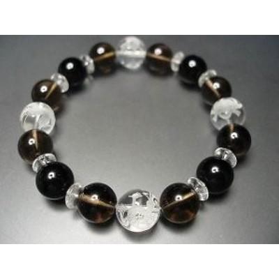 御守天然石4A本水晶四神手彫り&茶水晶&オニキス12ミリ数珠
