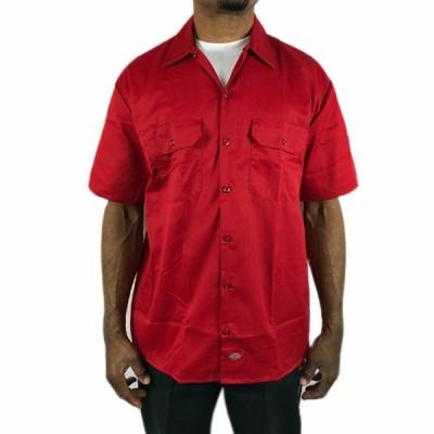ディッキーズ 半袖 ワークシャツ Dickes 赤 レッド メンズ 男女兼用 大きい ボタンダウン●sb39