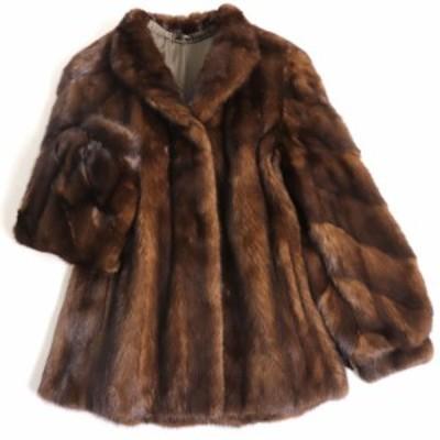 極美品▼MINK ミンク 本毛皮コート ブラウン 毛質艶やか・柔らか◎