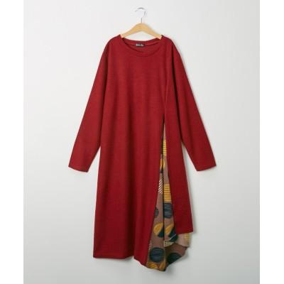 【裏起毛】柄切替え チュニックワンピース (ワンピース)Dress