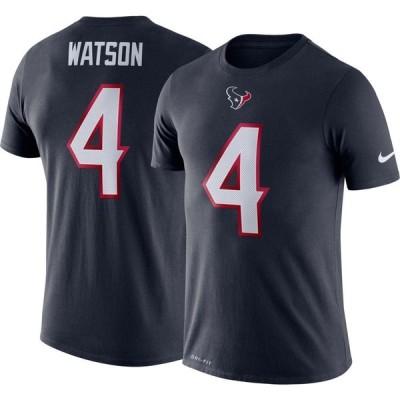 ナイキ Nike メンズ Tシャツ トップス Houston Texans Deshaun Watson #4 Logo Navy T-Shirt