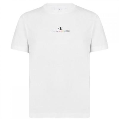 カルバンクライン Calvin Klein Jeans メンズ Tシャツ ロゴTシャツ トップス Pride Logo T Shirt Bright White