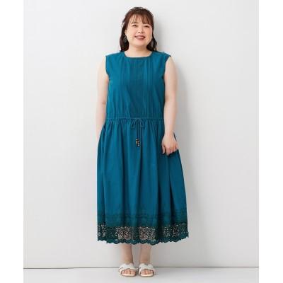大きいサイズ コットン刺しゅうロング丈ワンピース ,スマイルランド, ワンピース, plus size dress