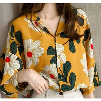 ブラウスレディース花柄シフォン大きいサイズゆったり着やせ韓国ファッショントップスシャツ半袖長袖vネック