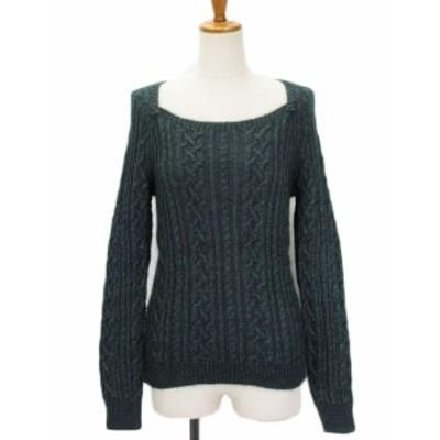 【中古】アンタイトル UNTITLED セーター ニット スクエアネック ケーブル編み モヘヤ ウール 2 緑 レディース