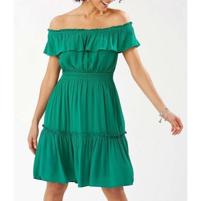 トッミーバハマ レディース ワンピース トップス Caicos Crinkle Gauze Off-The-Shoulder Cinched Waist Dress Green Charm