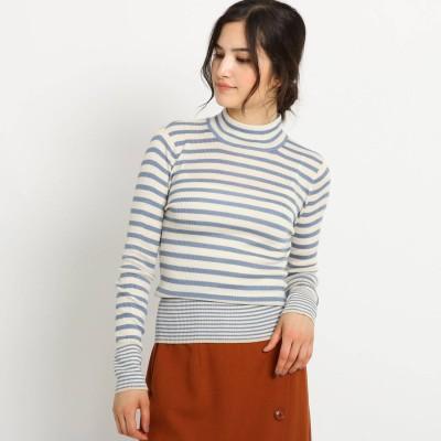 デッサン Dessin 【Sサイズ・Lサイズあり 洗える】シルケット毛混 ハイネックTシャツ (ライトブルー)