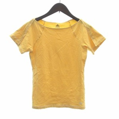 【中古】アディダス adidas Tシャツ カットソー ボートネック 半袖 ロゴ S ? イエロー /CT レディース