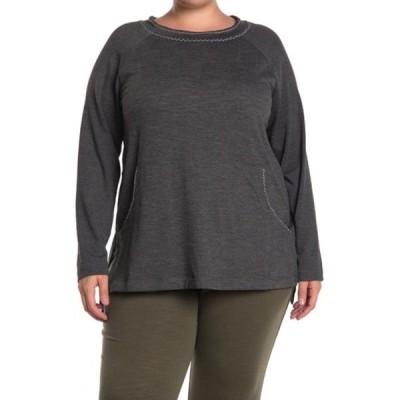 マックスタジオ レディース Tシャツ トップス Crew Neck Pocket Pullover Sweatshirt (Plus Size) HCNATSFT