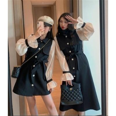 オシャレ度UP 韓国ファッション ウィンドブレーカー 女性 中長セクション 小さな男 春 新しいスタイル ウエスト スリム ホーンスリーブ スタンドカラー 爆弾通り ブリティッシュスタイル コート