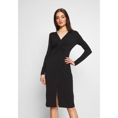 ロストインク ワンピース レディース トップス KNOT FRONT LONG SLEEVE BODYCON DRESS - Shift dress - black
