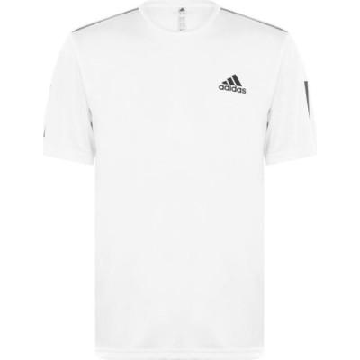 アディダス adidas メンズ Tシャツ トップス Tennis Club 3-Stripes T-Shirt White/Black