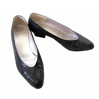 BRUNOMAGLI ブルーノ マリ「35 1/2」イタリア製デザインヒールパンプス (靴 シューズ 革 皮 黒) 093674【中古】