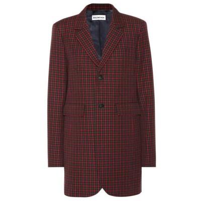 バレンシアガ Balenciaga レディース スーツ・ジャケット アウター checked wool blazer Red/Khaki